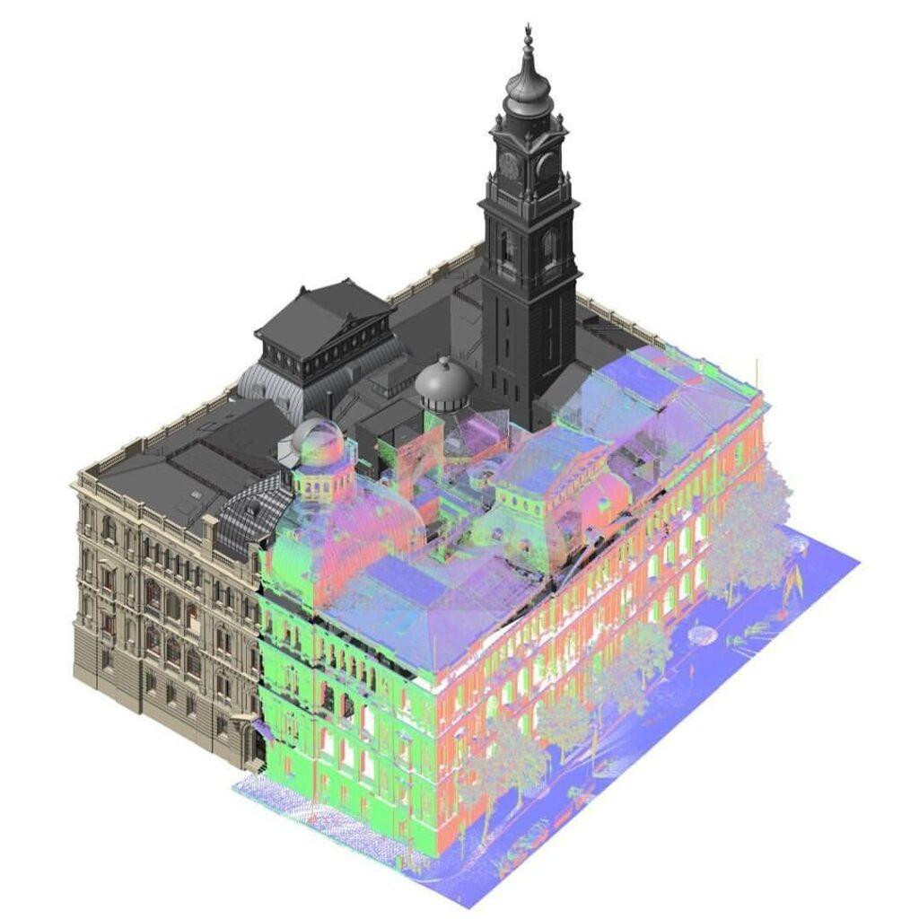 Point cloud survey into revit