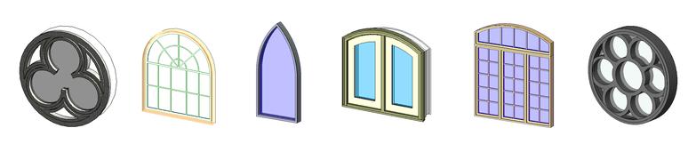 Revit round, half winged, triangular, angular windows families