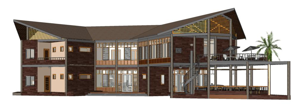 3D Revit model of hotel - restaurant